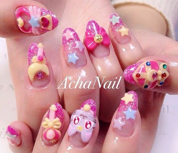 Sailor Moon Nail Art By Achanail They Re So Cute And Pretty I M Trying To Grow My Nails Out Again Can Do Some But Keep Breaking