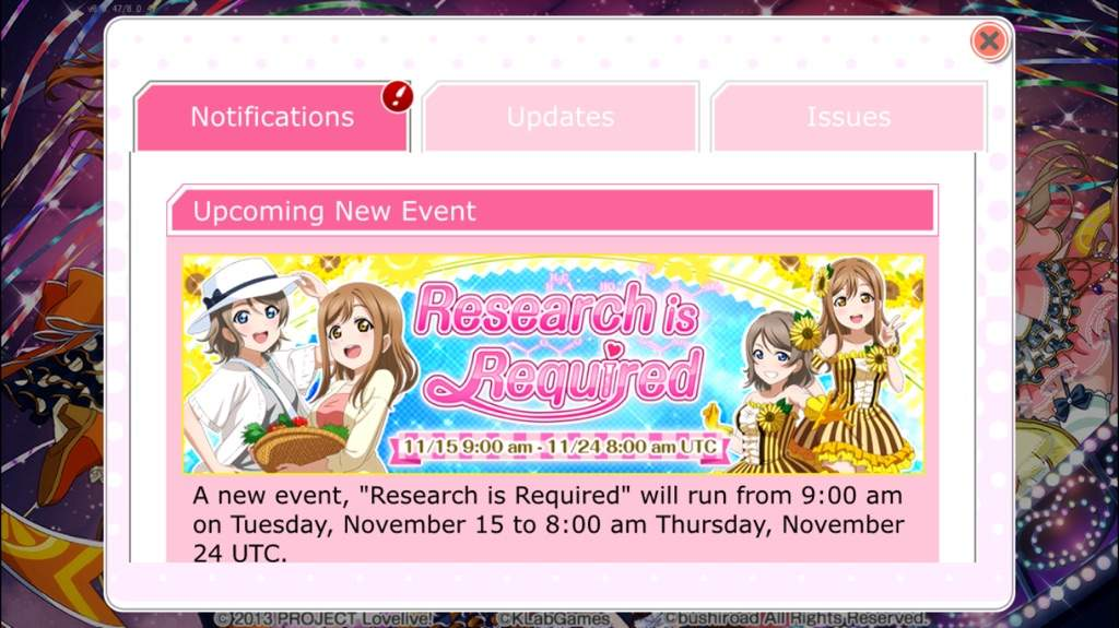 a4aa2dbec56b Just a heads up for the Eng version players of LL:SIF, new event starting  tomorrow. Also, don't forget to keep logging in to get your FREE UR Hanayo  card!