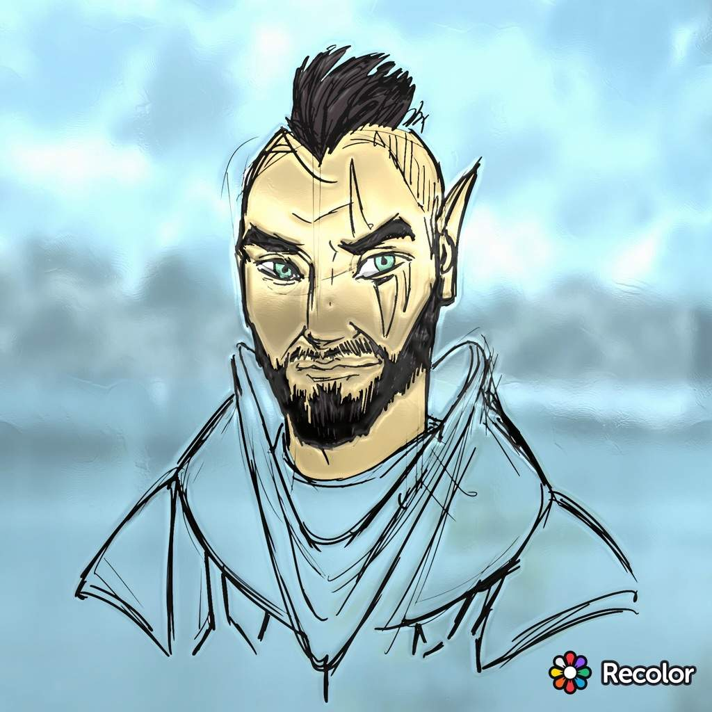 I found an altmer drawing very similar to my own altmer oc lorkhan malenko using the the recolor app i made it look somewhat realistic
