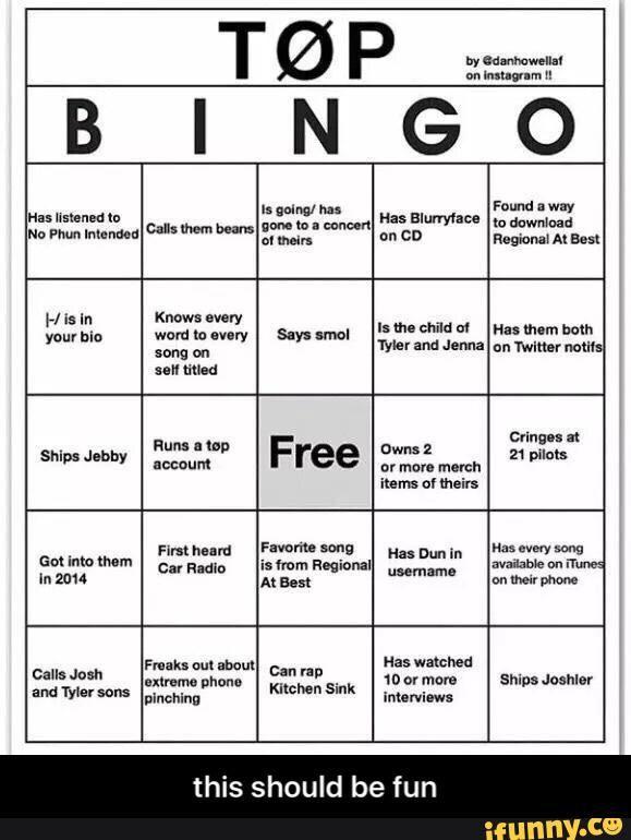 Twenty One Pilots Bingo Clique Amino