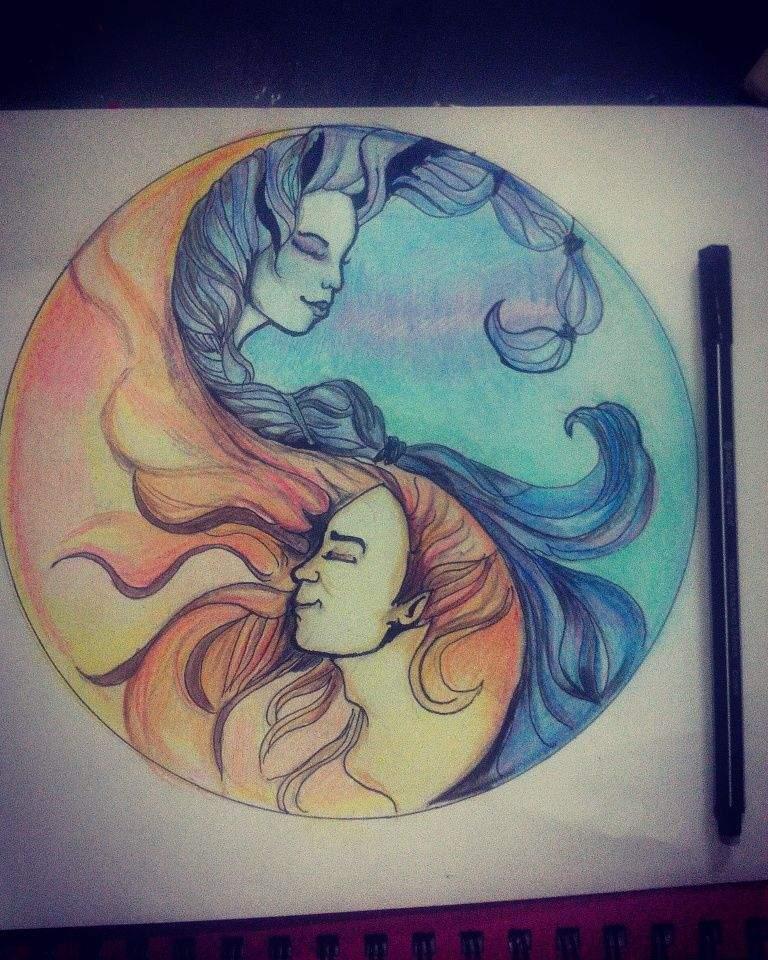 Fuego Y Agua Sol Y Luna Arte Amino Amino