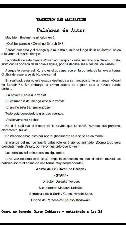 Capítulo 5 Vol 5 Novela Ligera Owari No Seraph Owari No