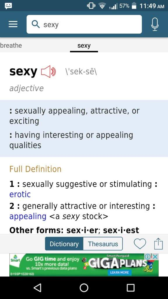 What does the word sexy mean