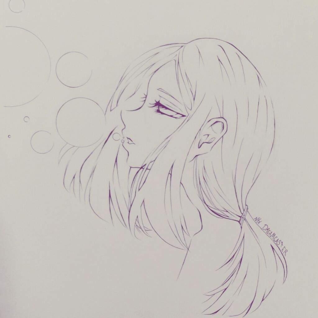 Anime Girl Lineart Lockindo
