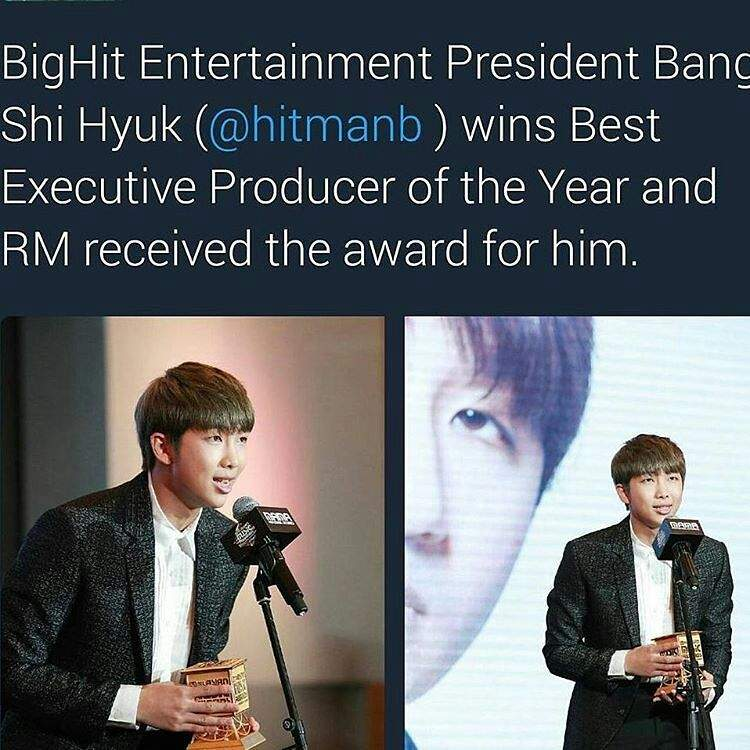 rap monster received thw award for him - Executive Producer Music