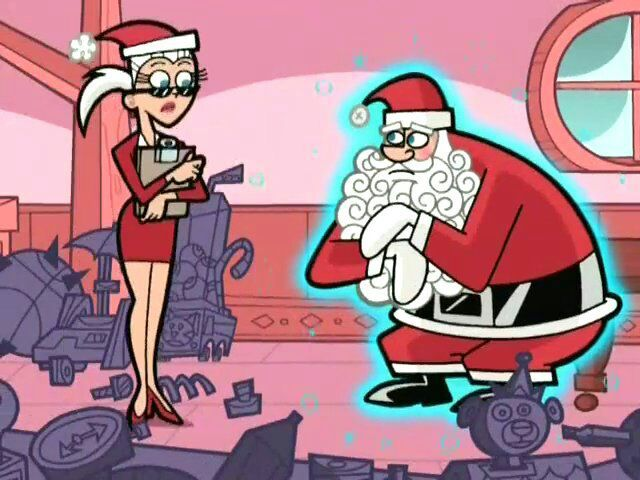 but before 10 we can explain himself the misfits show up and quickly attack santa he quickly gets overpowered and has been drained of all his magic - Fairly Oddparents Christmas Everyday