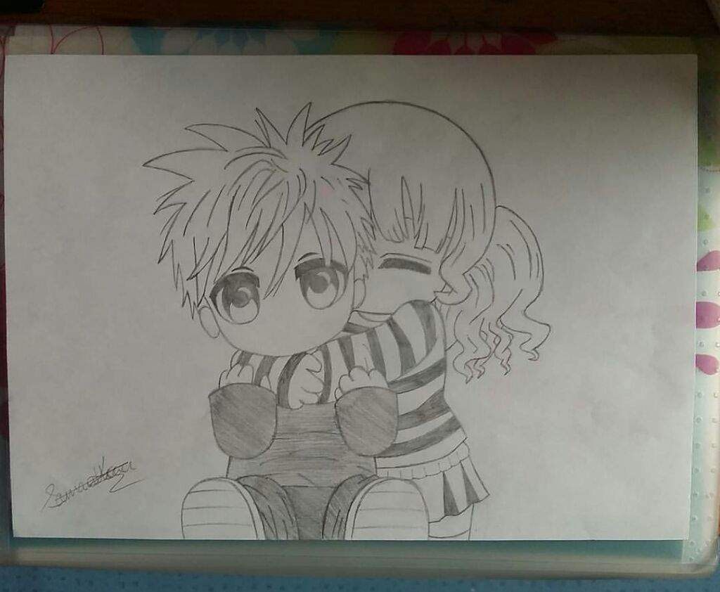 Cute anime couple drawing