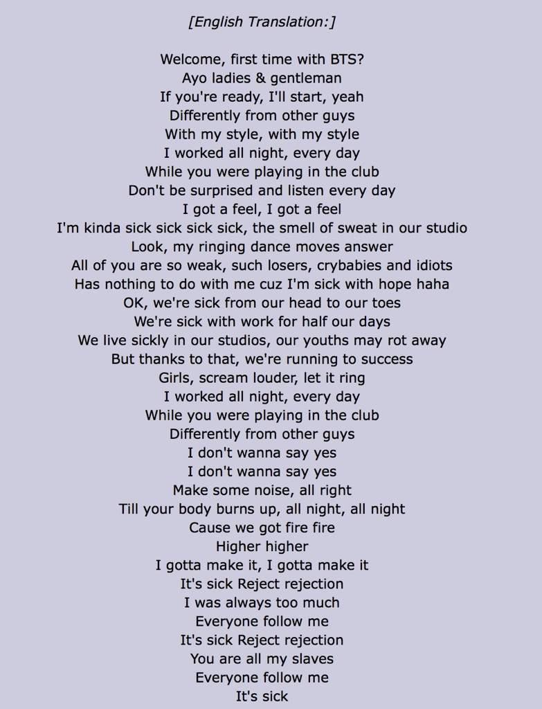 Silver spoon bts lyrics