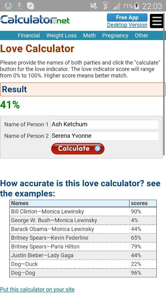 love calculator accurate free