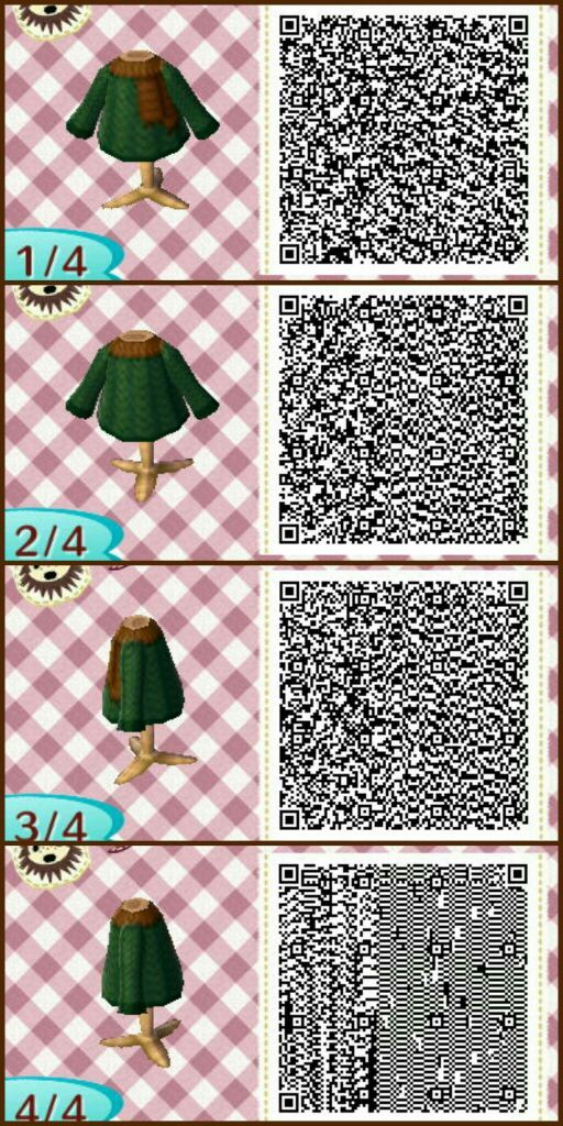 Image of: Crossing New Leaf Qr Dark Green Jumper And Brown Scarf Not Much To Say Really Amino Apps Winter Qr Code Designs Animal Crossing Amino