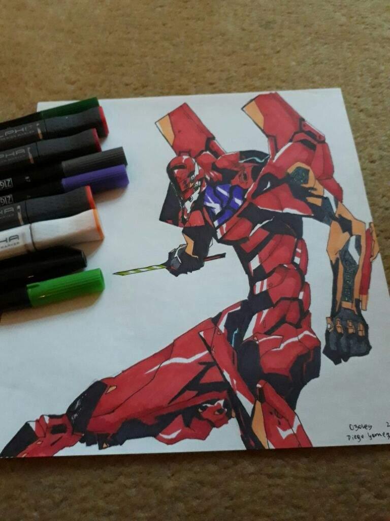 Dibujo Pintado Del Anime Evangelion Del Robot Eva 2