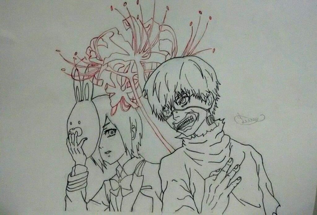 Desenho Kaneki E Touka Meu Primeiro Desenho Com A Caneta Nanquim