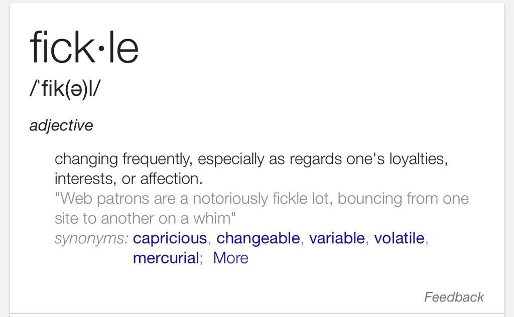 Definition for fickle