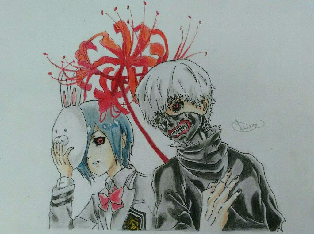 Desenho Terminado Kaneki E Touka Anime Tokyo Ghuol Otanix Amino