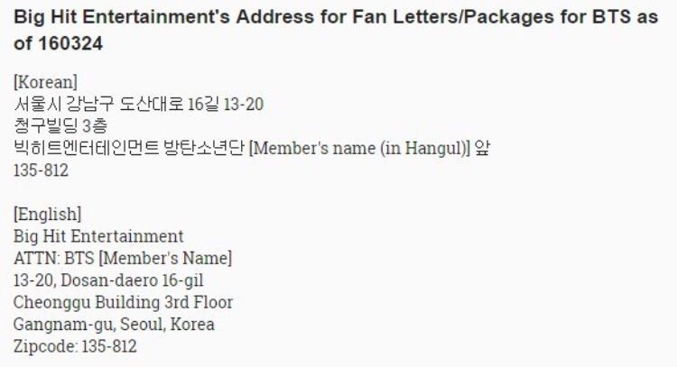 How to send a letter to BTS