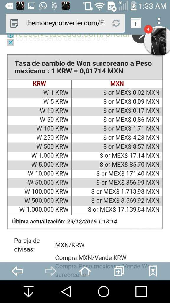 Peso Mexicano Equivale A 58 34 Won