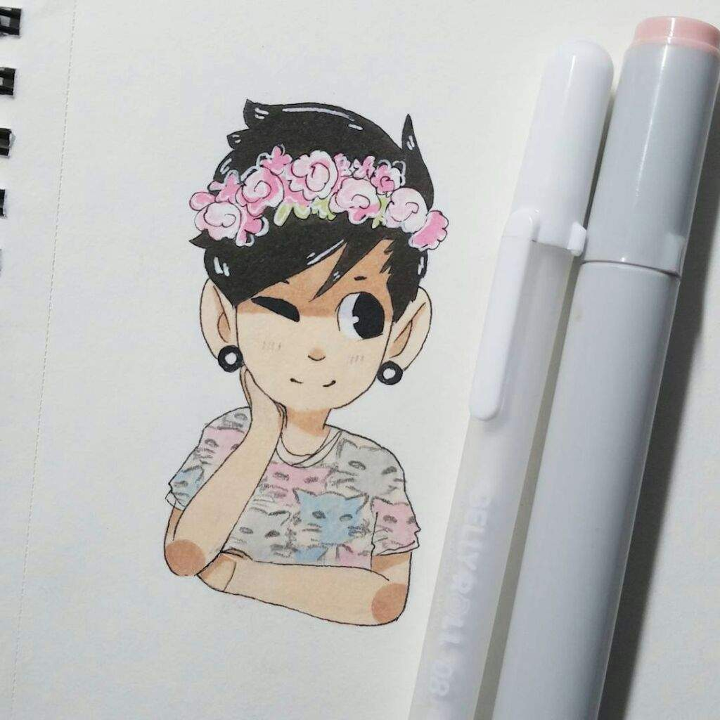 Josh Dun With His Natural Hair Color And Flower Crown Drawing