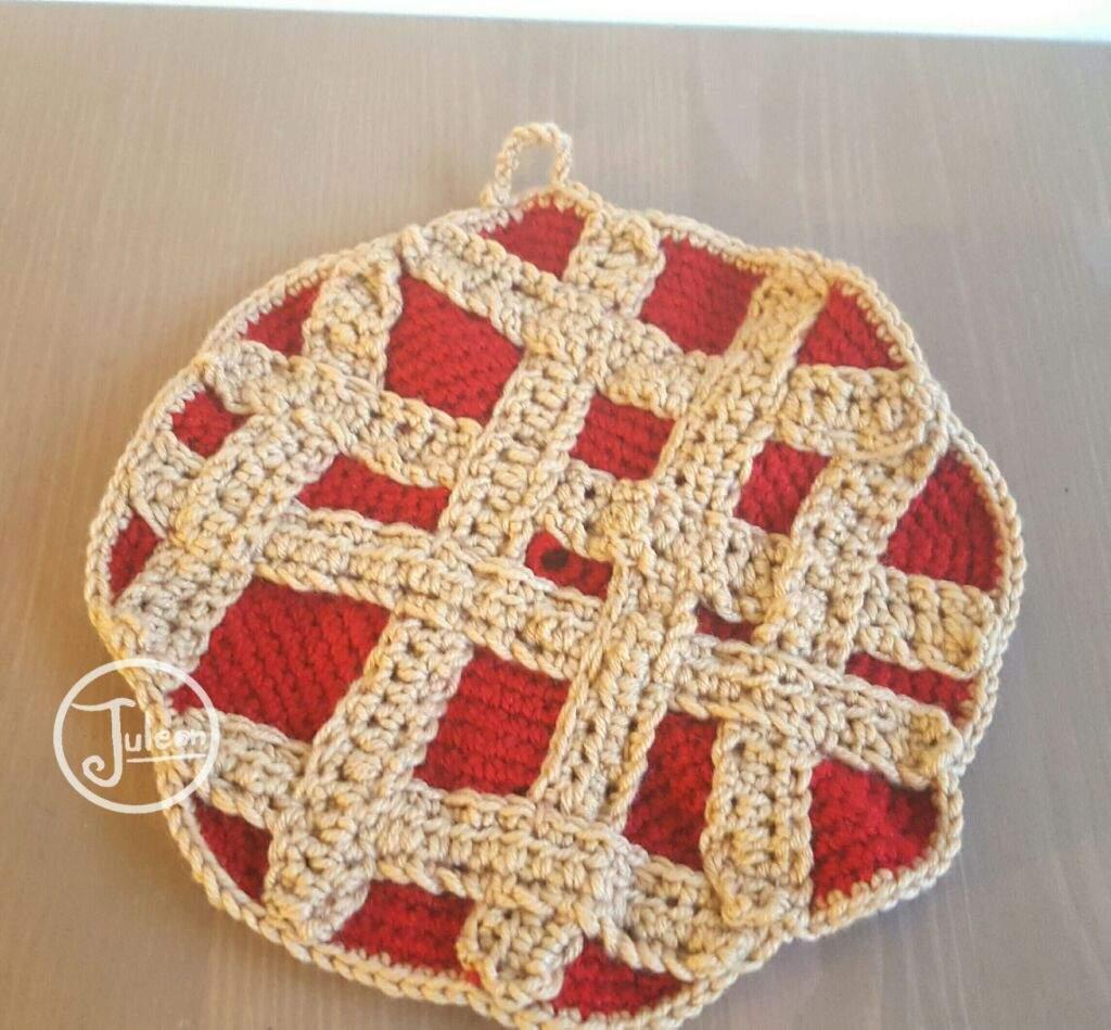 Crochet Cherry Pie Potholder Crafty Amino