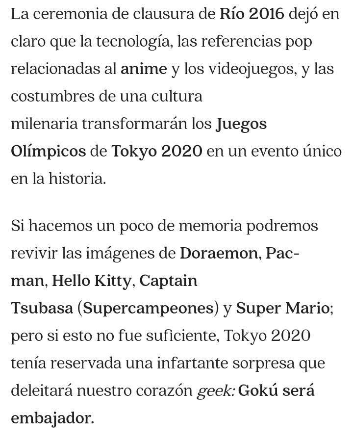 Goku Sera Nombrado Embajador En Los Juegos Olimpicos Tokyo 2020