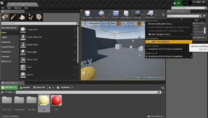 Unreal Engine 4 beginners tutorial (unlocking a door with a key