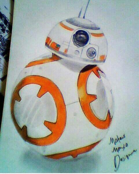 desenho realista ou pelo menos perto do realismo droid bb8 star