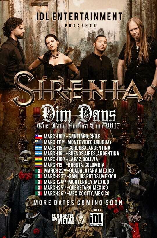 Sirenia tour Dim Days Latinoamérica | •Metal• Amino