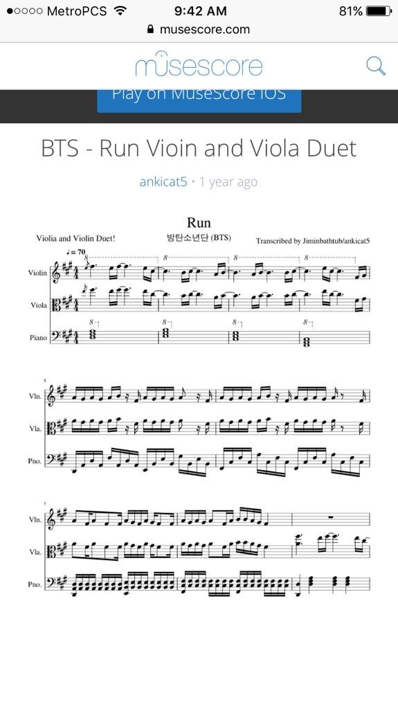 Run Sheet Music Including Viola And Piano: Viloa Kpop Music Sheets At Alzheimers-prions.com