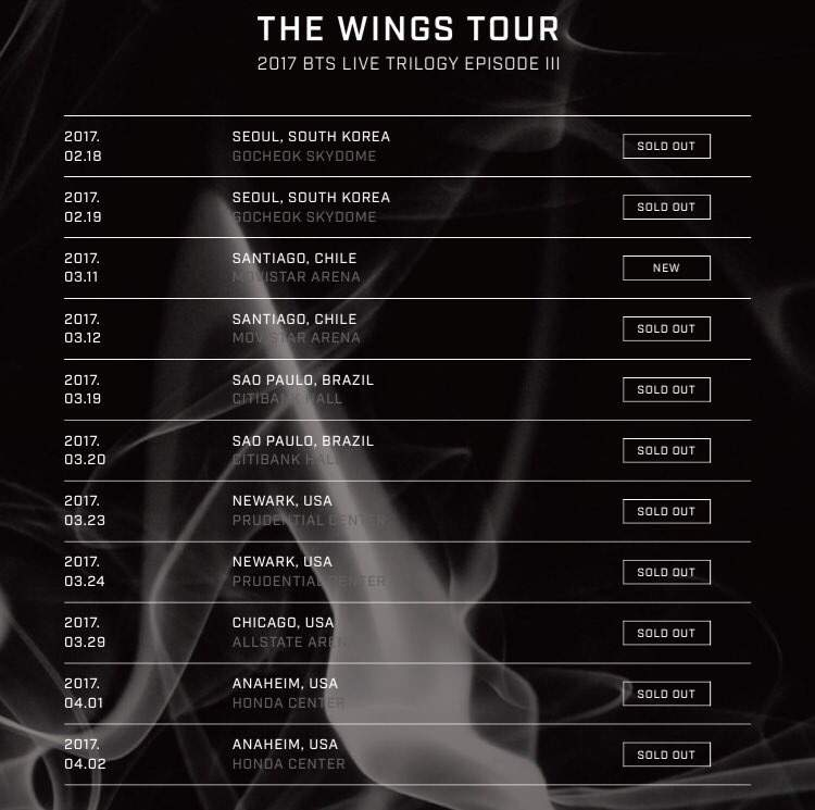 Bts Wings Tour Datew