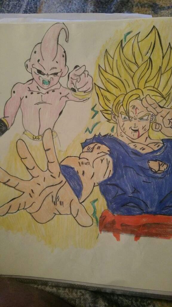 kid buu vs goku drawings