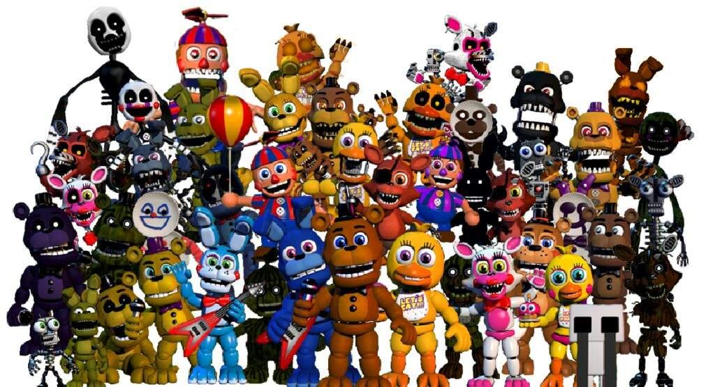 All animatronics in FNAF WORLD | Five Nights At Freddy's Amino