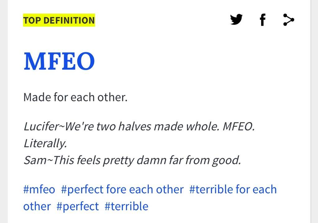 MFEO Definition on Urban Dictionary | Supernatural Amino