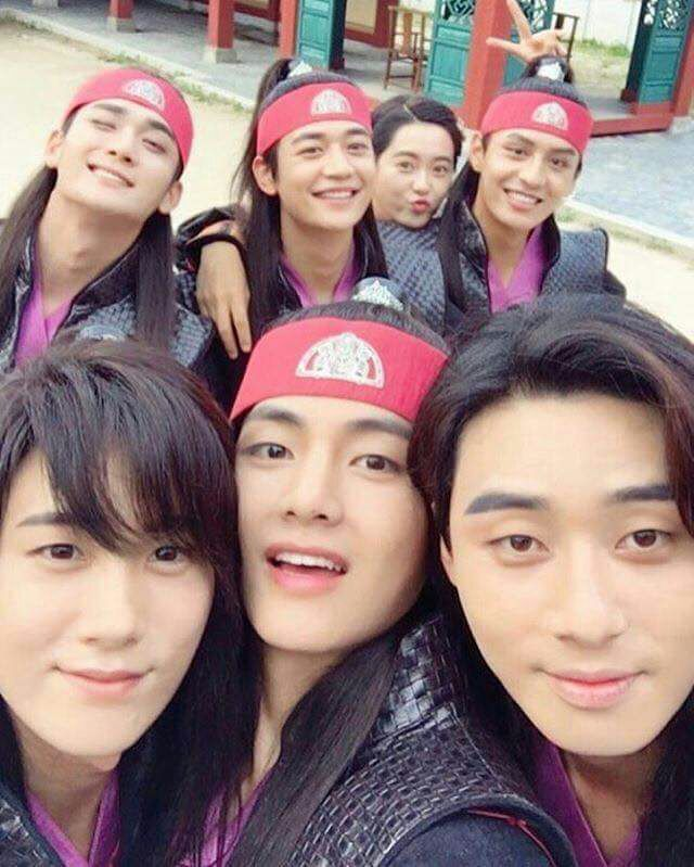 Yoonwoo Instagram Update With Taehyung And Hwarang Cast Bts V