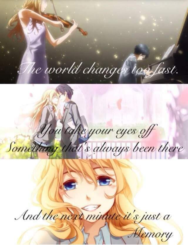 Your Lie In April Sad Quote Anime Amino