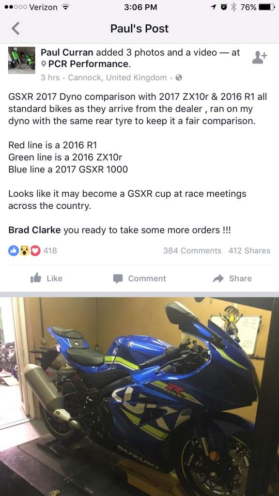 The New 2017 Gsxr 1000 dyno comparison | Motorcycle Amino Amino