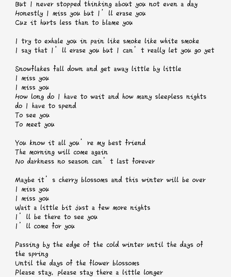 Lyric if you go away lyrics : 🌸Spring day (Re-arranged lyrics)🌸 | ARMY's Amino