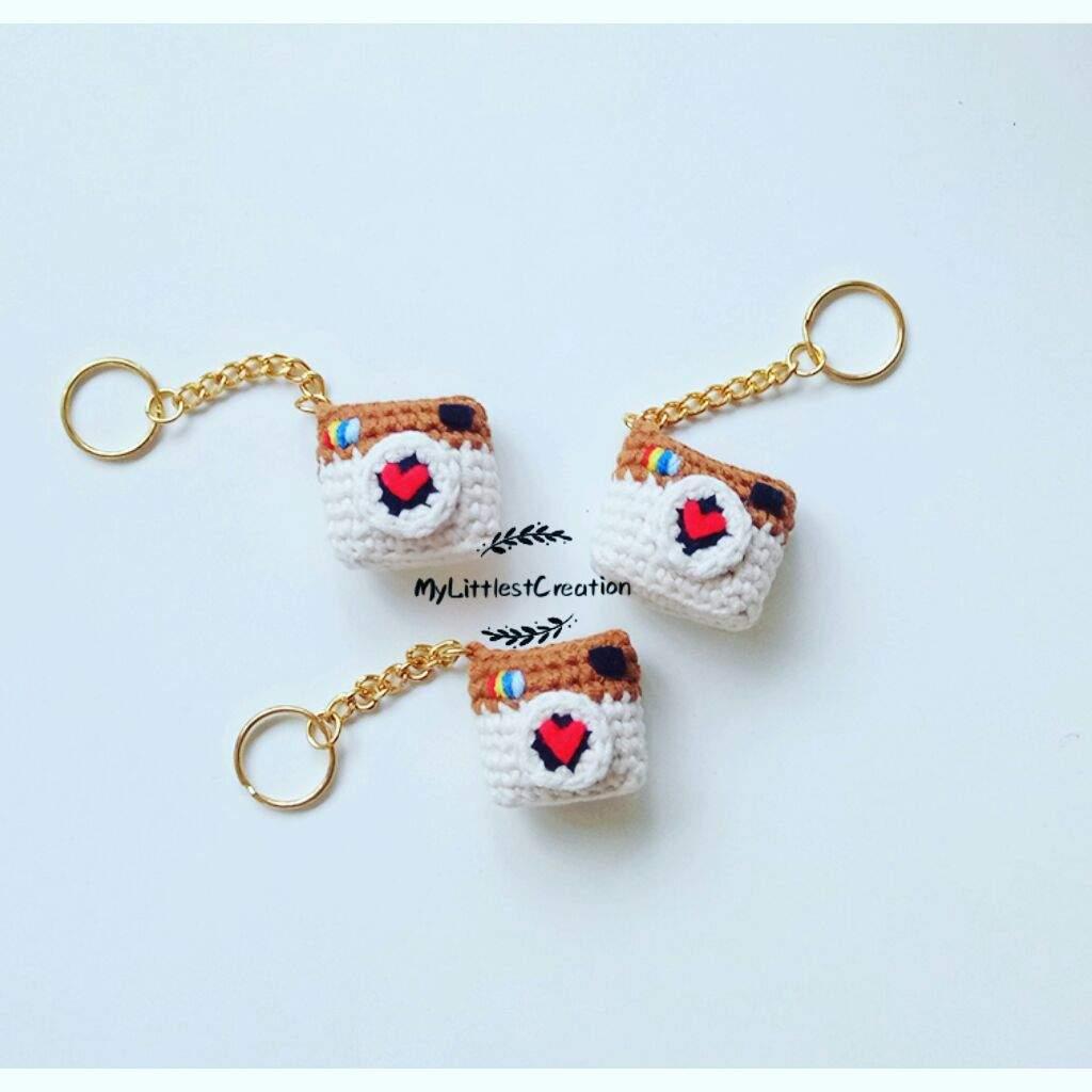 Old Instagram Logo Keychain Handmade Crochet