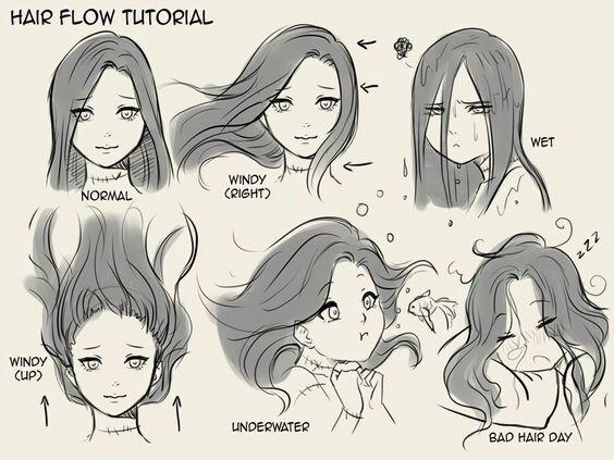 Рисовать волосы аниме