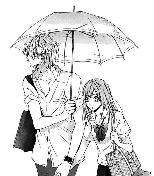 Anime Boy And Girl Under Umbrella