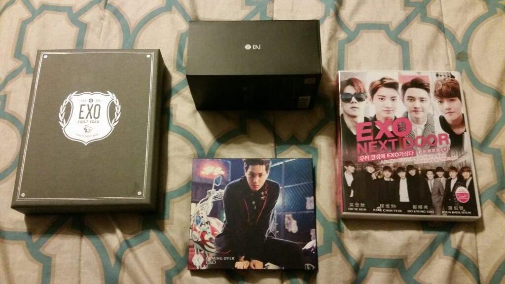 Today I Got EXOs First Box Dvd Set EXO Next Door Coming Over Album Kai Version And The Exo Figure Bluetooth Speaker