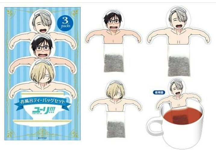 Theyre Tea Bags With Yuri Viktor And Yurio On Top As If Sitting In The Hot Springs I Find Them Very Adorable Kind Of Weird But Is Always