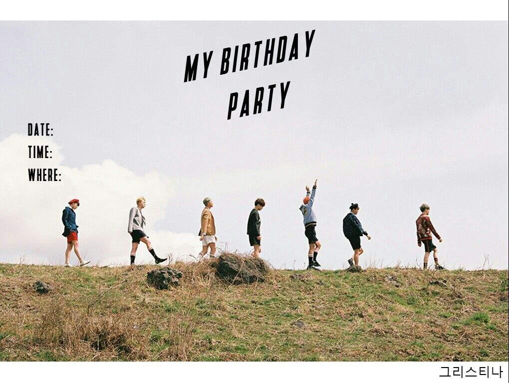 bts birthday invitation card army s