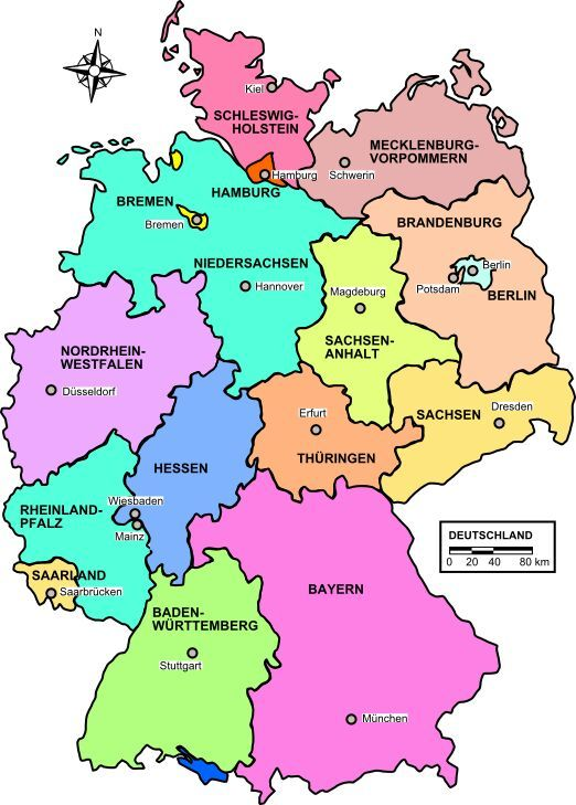 Lern German About The Country Federal States Language - Germany map federal states