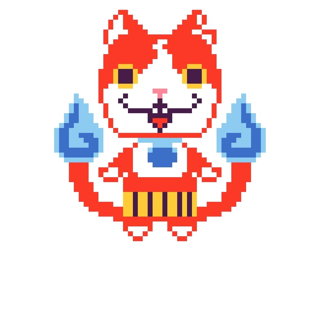 Pixel Art Jibanyan Yo Kai Watch Amino