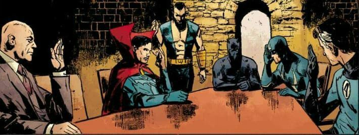 En esta reunión de los Iluminati, Iron Man sacó la foto