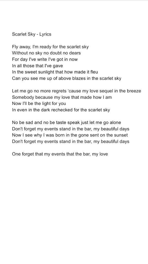 Lyric if you go away lyrics : Scarlet Sky - Lyrics BY ME | Bungou Stray Dogs Amino