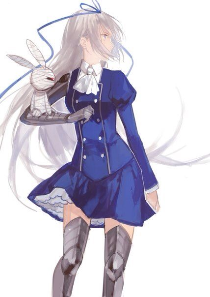 Тян с белыми волосами аниме