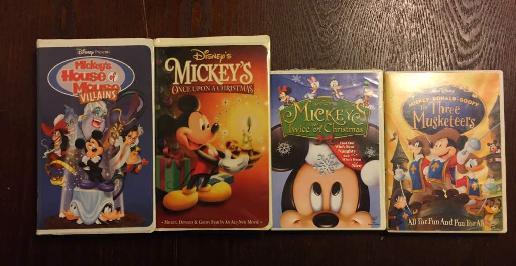 far left mickeys house of villains left mickeys once upon a christmas right mickeys twice upon a christmas far right the three musketeers - Mickeys Once Upon A Christmas Vhs