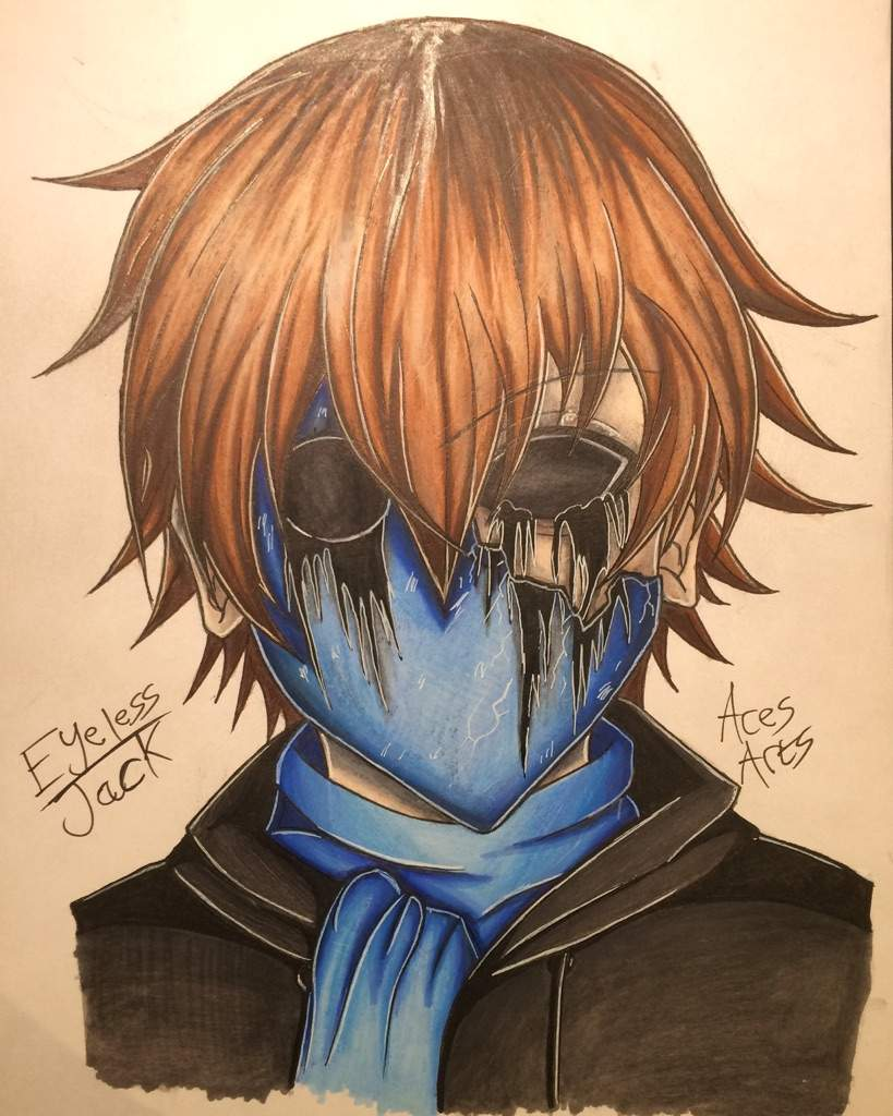 Eyeless jack anime style drawing creepypasta