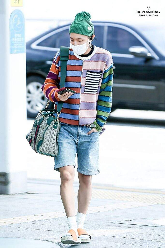 airport fashion Colorful Jhope 😁😁 | ARMY's Amino
