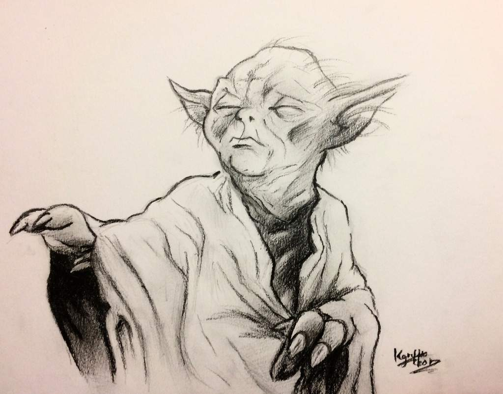 Line Drawing Yoda : Yoda drawing cartoon amino